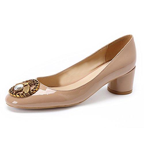 Damen Schuhe Pumps Mit Blockabsatz Frauen Leder Elegant Formel Schwarz Office Shoes Hohe Absatz Rund Slip On (38 EU, Nude Lackleder mit Schnalle)