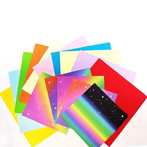 Anyasen carta origami 150 fogli colorati double face carta per origami carta origami arcobaleno Set Regalo di Carta per Origami (2 taglie carta origami 15x15 cm 20 x 20 cm)
