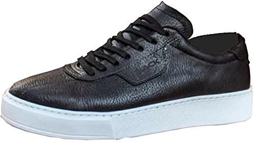 Knack 060 - Zapatos para hombre, estilo informal, para uso diario, ligeros, transpirables, para caminar, color negro (suela blanca), Black, 43.5 EU