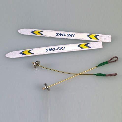 efco–Miniatur-Ski-Set, weiß, 9cm, 4-teilig
