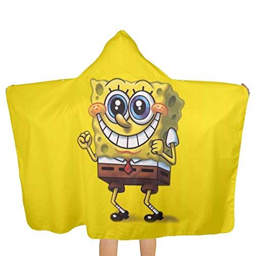 YHGFR Candy Ran Spongebob Kapuzenhandtuch Soft Beach Bath Swim Pool Vertuschung Poncho Cape für Jungen Mädchen, Kleinkinder