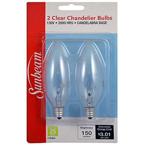 Sunbeam Light Bulb Clear, Chandelier, 25Watts – 2 Bulbs