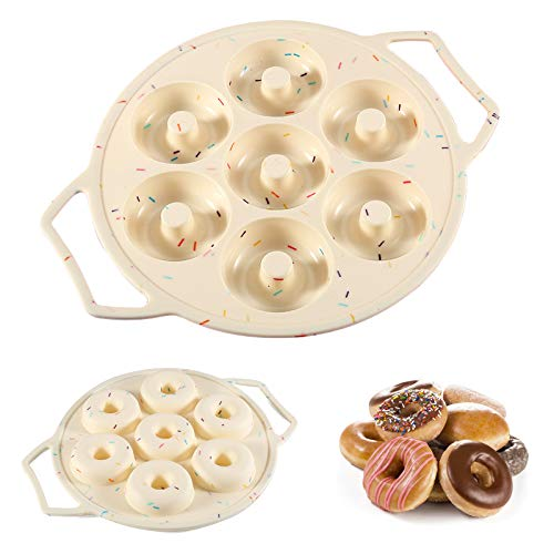 Silicone Mini Donut Pan Cake Mold Doughnut Pans for Baking Donut Maker with Handle No Stick 7Cavity Donut Mold Also for Mini Bagels