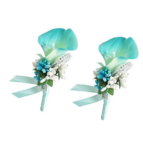 B Baosity 2X Wedding Band Wrist Corsage Brooch Boutonniere Set Artificial Flower Party