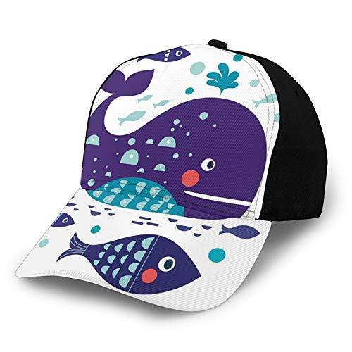 Gorra de béisbol de bajo perfil ajustable para hombre y mujer, diseño de peces grandes con otros en el océano