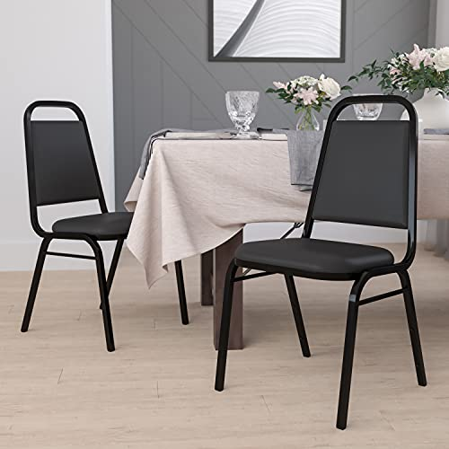 Flash Furniture 4 Pack HERCULES Series Trapezoidal Back Stacking Banquet Chair in Black Vinyl - Black Frame
