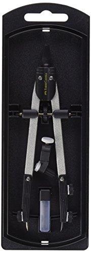 Faber-Castell 32722-8 - Compás de ajuste rápido, con tornillo central, articulaciones en ambos brazos y accesorios de recambio