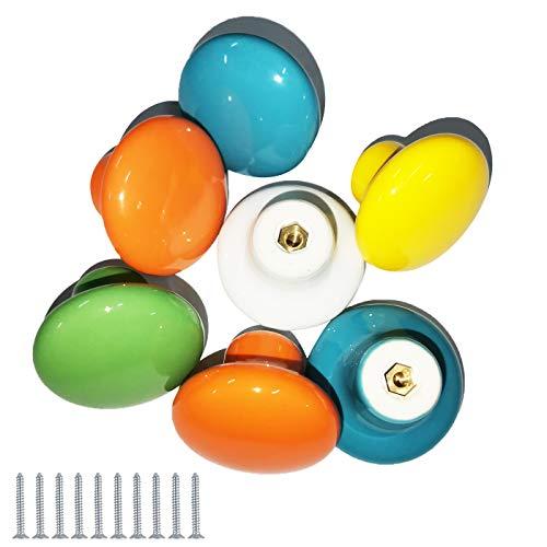 Zuzer 10PCS Porta Manopole Pomello in Ceramica Maniglia del Cassetto Colorate Door Knobs Handle Drawer Knobs per Camera da Letto per Bambini(38mm)