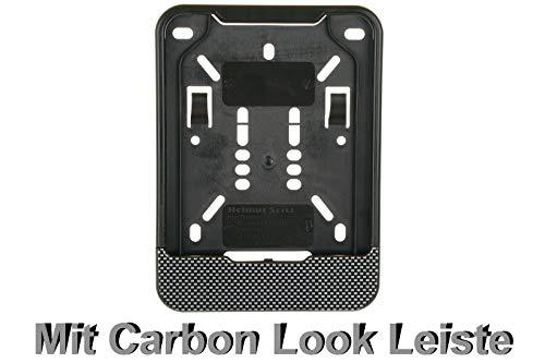 1x Kennzeichenhalter für Versicherungskennzeichen 135 x 110 mm (für Mofa - Roller - S-Pedelec - E-Bike - Moped - L-Krad - Leichkraftrad) Mit Carbon Look Leiste
