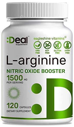 Muscle Builder L-Arginine 1500 mg, 120 Capsules, 3-1 Arginine AAKG, HCL & L-Citrulline, Nitric Oxide Booster, Extra Strength L-Arginine Supplement