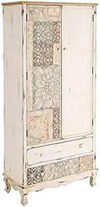 Tousmesmeubles Armoire 2 Portes 2 tiroirs Bois/Crème - MOONDY - L 80 x l 38 x H 180 - Neuf