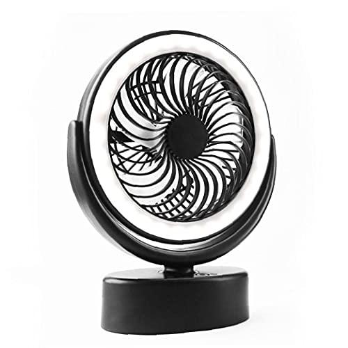 LjzlSxMF Ventilador de Ventilador de Tiendas de Ventilador 3000mAh Fan de Acampada con Linterna LED Gancho Colgante Fan de Camping Negro con luz LED