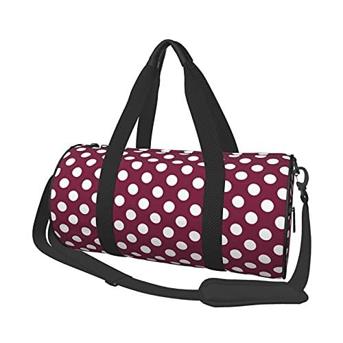 Bolsa de deporte para gimnasio, ligera, potable, de lona, con lunares blancos en burdeos, bolsa de viaje multifunción, bolsa para gimnasio y fitness