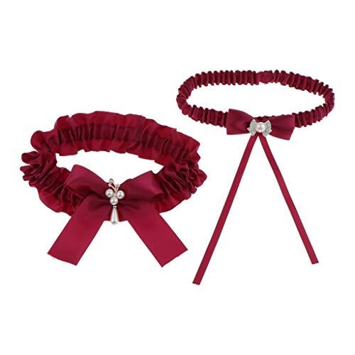 oshhni 2pcs Señoras Nupcial Bowknot Liga Liguero Cinturón Rhinestone Muslo Anillo - rojo, unico