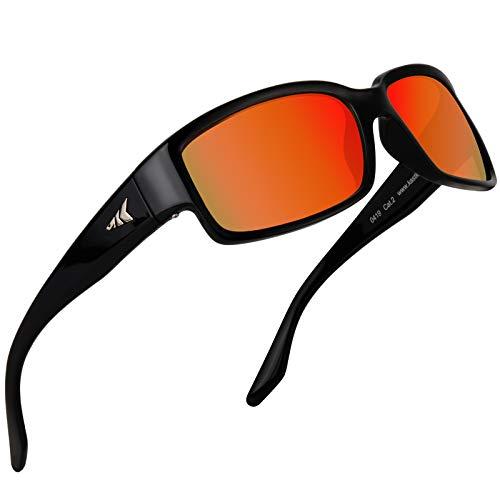 KastKing Skidaway Polarized Sport Sunglasses for Men and Women, Gloss Black Frame, Amber Scarlet Mirror