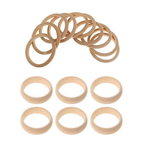 B Blesiya 16er Pack Natürliche Armreif Holz Holzarmreif Rohling zum Basteln Bemalen Selbst Gestalten DIY Armband