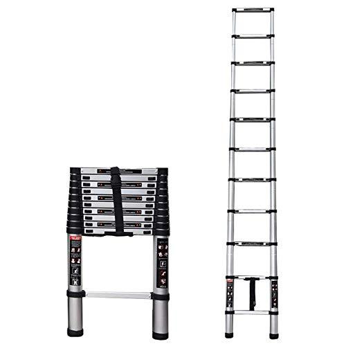 MNBV Escalera de extensión telescópica Premium de Aluminio, Escalera Alta Extensible Antideslizante para Trabajo en Interiores y Exteriores, Capacidad de 330 Libras (tamaño: 3,2 m / 10,50 pies)