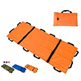 Jeamive Oxford Folding Stretcher with 12 Handles Waterproof Foldable Emergency Rescue Back Stretcher with Storage Bags for Hospital,Clinic, Home,Sports venues,Ambulance (Orange)