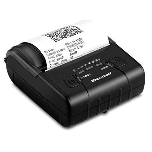 Excelvan E300 - Impresora Térmica de Recibos y Billetes (Bluetooth Inalámbrica, Portátil, USB, 90Mm/seg, 80mm, ESC/POS, para Pos Terminal Punto de Venta), Negro