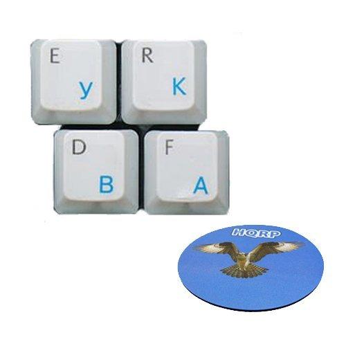 HQRP Blaue Russische Tastatur-Aufkleber auf transparentem Hintergrund für alle Tastaturen Rechner/Computer/PC/Notebooks/Laptops Tastatur Untersetzer