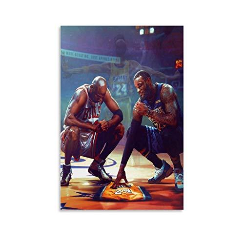 Kunstdruck auf Leinwand, Motiv Kobe Bryant Lebron James und Michael Jordan, 60 x 90 cm