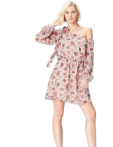 Amazon-Marke: find. Damen Mini-Kleid mit Blumenmuster und asymmetrischer Schulterpartie, Mehrfarbig (Cream Mix), 34, Label: XS