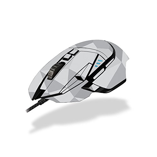 MightySkins Skin Compatible with Logitech G502 Proteus Spectrum Gaming Mouse - Gray Polygon | Protective, Durable, and Unique Vinyl wrap Cover | Easy to Apply, Remove | Made in The USA