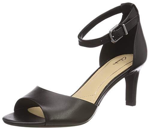 Clarks Laureti Grace, Zapatos con Tacon y Correa de Tobillo Mujer, Negro (Black Leather-), 40 EU
