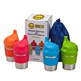 SunZio Stainless Steel Cups for Toddlers and Kids with Elephant Silicone Sippy Lids and Grips | 10oz 4 Pack | Non Plastic BPA Free Sippy Cups for Babies