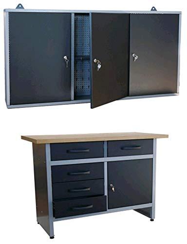 TrendLine Werkstatt-Set Werkbank Werkschrank 120 cm Montagewerkbank Werktisch