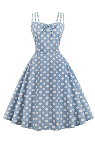 Babyonlinedress Femme Robe Soirée Chic Vintage année 1950 Audrey Hepburn pin-up Rockabilly Swing 3 Bretelles à Fleur Bleu XL