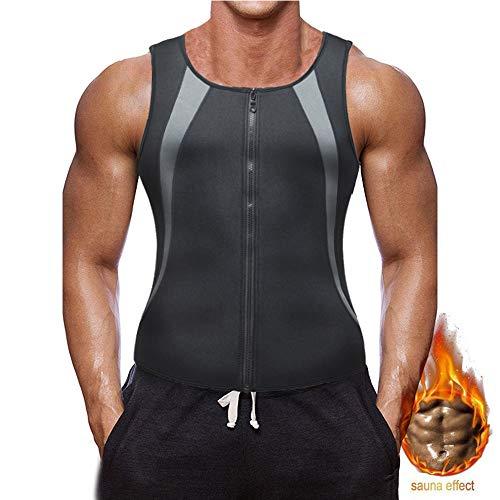 XDSP Faja Reductora Hombre Adelgazante Corsé con Cremallera Camiseta Termica, Compresión Desarrollo Muscular Quema Grasa Pérdida de Peso Sudoración Cremallera para Hombre (Gray, L)