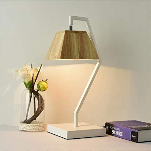 Nachtkastje tafellamp - massief hout en linnen lampenkap tafellamp voor slaapkamer, woonkamer, babykamer (vierkant) bureaulamp