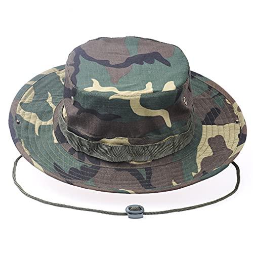 Sombrero de Pesca,Boonie Hat Sombrero de Verano con Correa de Barbilla Ajustable para Exteriores,Senderismo,Camping,Viajes Verde Camuflaje
