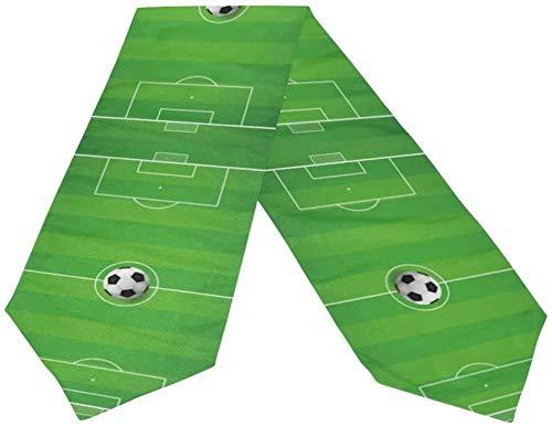 DUTRIX Camino de mesa de fútbol de doble cara y poliéster de fútbol, 33 x 29 cm, color verde, decoración de mesa principal para bodas