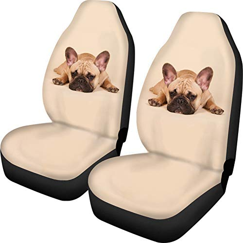 Upetstory Novelty Car Front Seat Covers Washable Vehicle Seat Protector Car Mat Covers Fit Most Cars Sedan French Bulldog Print