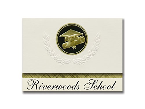 Signature Announcements Riverwoods School (St. Cloud, MN) Graduation Ankündigung, Presidential Style, Elite Paket mit 25 Cap & Diplom Siegel Schwarz & Gold