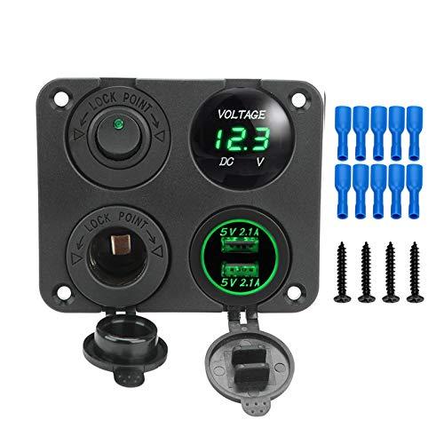 YONGFENG WANGml Voltímetro Digital Doble USB Puerto USB 12V Combinación de la combinación a Prueba de Agua para el Barco Marino del automóvil LED Toggle Rocker Switch Panel (Color : Yellow)