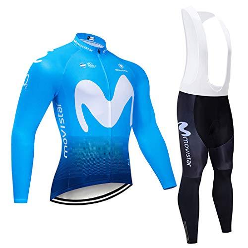 Maillot Ciclismo Hombres Manga Largo,Mangas Largasy Pantalones Ajustados 3D Acolchado,Ropa De Bicicleta Hombre MTB Traje De Ciclismo Mangas Largas,Spinning, Bicicleta De Carretera (1,L)
