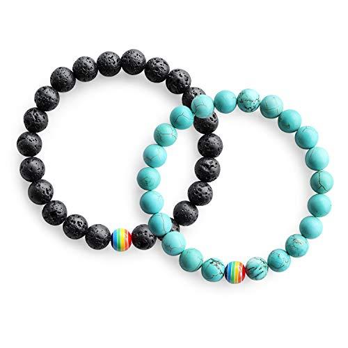 Me&Hz LGBT Pride Bracelet/Long Distance Promise Bracelets for Lesbian Couples/Black Lava Stone &Turquoise Beaded Rainbow Bracelets Jewelry