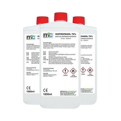 3x 1 Liter Medicalcorner24® Isopropanol 70% Isopropylalkohol 2-Propanol Alkohol Schimmelentferner