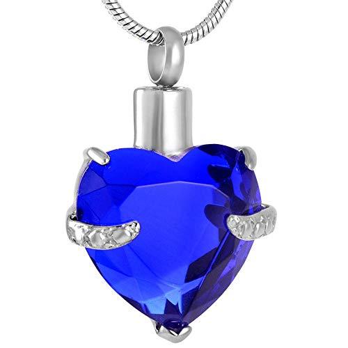 KBFDWEC Corazón de Cristal Colgante de urna de Piedra Natal Colorida Memorial Cremación Recuerdo Titular de Cenizas Medallón