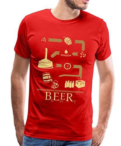 Bier Brauen Brewery Schaubild Brauerei Männer Premium T-Shirt, XL, Rot