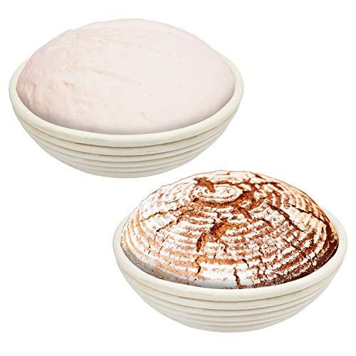 Kurtzy Gärkörbchen Rund Brotteig Gärkörbe (2er set) - Gärkorb für Brotteig von 22cm (750g Brotteig) aus natürlichem Peddigrohr - Brot Gärkorb Ideal zum Gären von Brotteig, Pizzateig, Gebäckteig