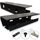 Under Desk Cable Management Tray (Pack of 2), Black, 2 Mounting Options Tape/Screws, Organizer Rack for Cords/Wires/Power Strip/Power Bricks, Built Sturdy and Wide to Fit All Your Under Desk Clutter