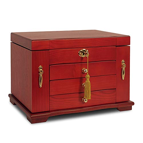 Extra Large Wooden Jewelry Box/Jewel Case Cabinet Armoire Ring Necklacel Gift Storage Box Organizer (Wine red)