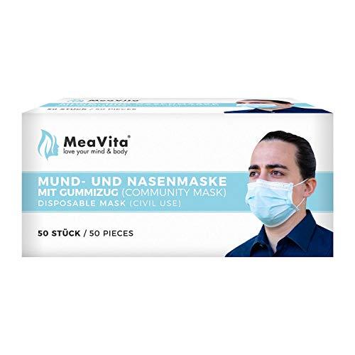 MeaVita Mund- und Nasenmaske, 50er Pack, Einweg Maske, 3-lagig Gummizug