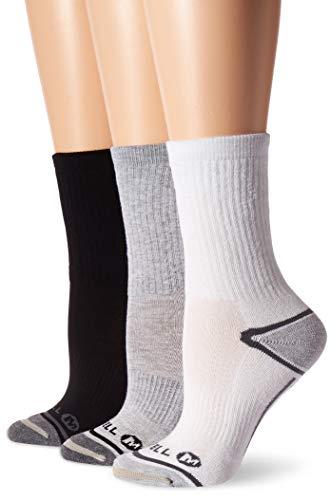 Merrell womens 3 Pack Performance Hiker (Low Cut Tab/Quarter/Crew) Casual Sock, Grey Assorted (Crew), Shoe Size 4-10 US