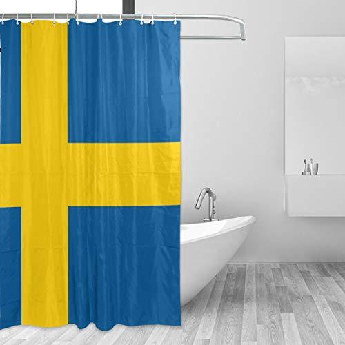 FANTAZIO Duschvorhang, Flagge von Schweden, Polyester, mit dicken C-förmigen Haken, für Badezimmer, wasserdicht, langlebig & superwasserdicht, 152,4 x 182,9 cm
