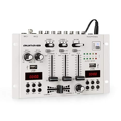 AUNA DJ-22BT MKII - Console de mixage, 2/3 canaux, Bluetooth, 2 USB, 2 écrans, 2 entrées de Ligne/Phono, 1 entrée AUX, 2 Prises Micro, Fonction cue, Faders Doux, Talkover, Montage Rack, Blanc